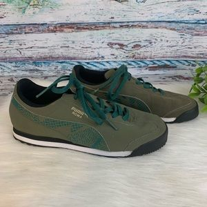 Puma Roma Green Kinder Fit Shoes Sneakers Sz 3.5